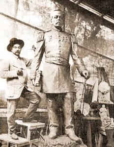 Escultor italiano Lorenzo Petrucci e estátua de Floriano Peixoto