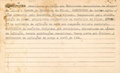Verso da ficha no DOPSE de Zito Cabral