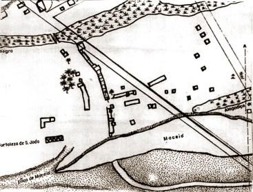 Desenho com base na planta de Maceió de José da Silva Pinto, de 1820, arquivado no IHGA. Esta planta foi encomendada pelo presidente da Província Melo e Póvoas
