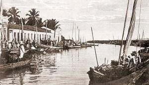 Porto e canal da Levada no início do século XX em Maceió