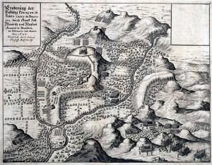 Mapa de Porto Calvo desenhado pelos Holandeses durante a ocupação no século XVII