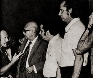 Ricardo Cravo Albim, Manoel Diégues Júnior, Roberto Pereira e Nelson Simões. Foto de Ayrton Quaresma para a revista O Cruzeiro