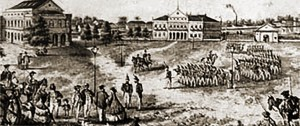 Revoltosos no Campo das Princesas em Recife durante a Revolução Pernambucana em 1817.