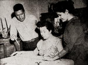 Augusto Calheiros com a esposa e a filha