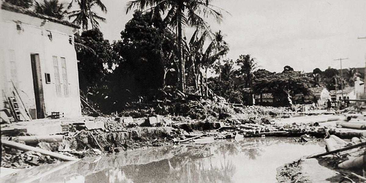 A cidade de São José da Laje foi parcialmente destruída pela tromba d'água de 1969