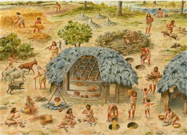 Esquema idealizado de una aldea neolítica