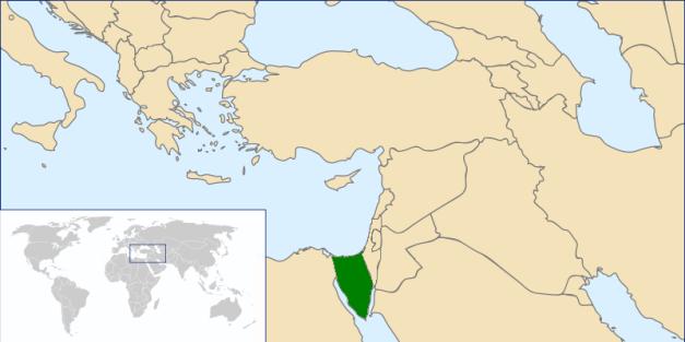 Ubicación en Próximo Oriente de la Península del Sinaí