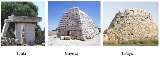Ejemplos de manifestaciones del megalitismo de taulas y navetas