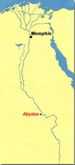 Localización en un mapa de las ciudades de Memphis y Abydos