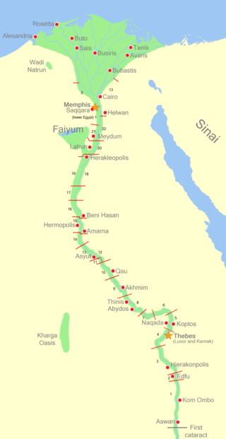 Mapa que muestra los distintos nomos o provincias del Alto Egipto