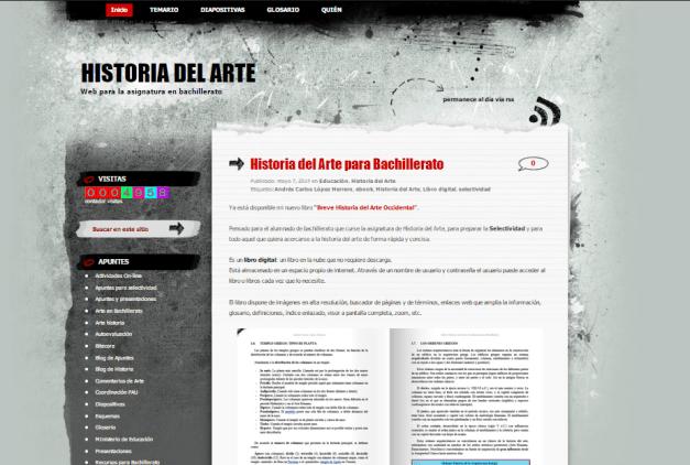 Captura de pantalla general de este gran blog de Historia del Arte para estudiantes de bachiller