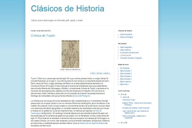 Captura de pantalla general de este gran blog de libros histórico para descarga