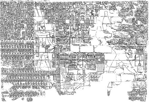 Dibujo que muestra en blanco y negro un relieve triunfal en el que se representa a Sheshonq I