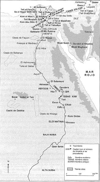 Mapa que muestra las principales poblaciones y divisiones políticas a comienzos del Tercer Período Intermedio