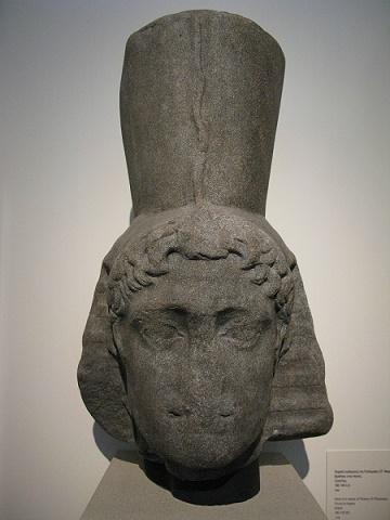 Estado actual de un busto en el que se representaba a Ptolomeo VI, de la dinastía ptolemaica