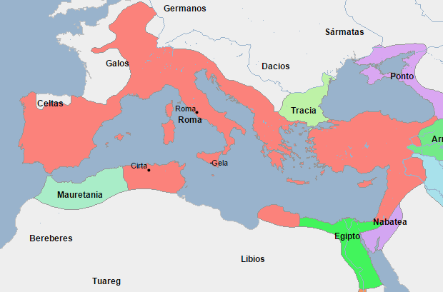 Mapa que muestra a Egipto rodeado por territorio romano por casi todos los lados