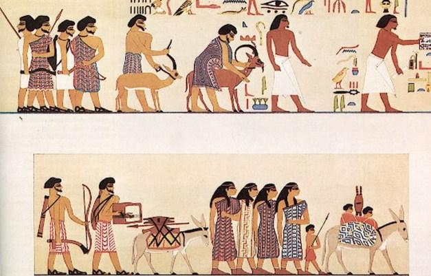 Caravana de comerciantes asiáticos hapiru según un mural de la tumba de Khnumhotep III (1890 a.C.) en Beni Hasan. Son uno más de los pueblos detrás del rigor histórico de la Biblia