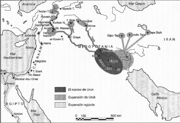 Mapa que muestra la expansión cultural del periodo de Uruk, (Aubet, 2007)