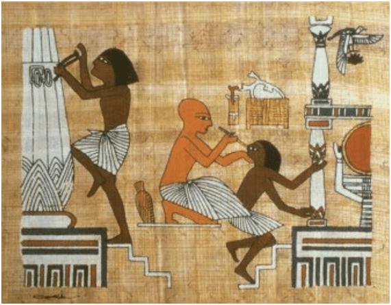 Médico egipcio tratando una enfermedad ocular, ejemplo de la salud en el antiguo Egipto