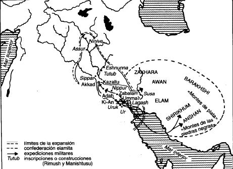 Mapa de la extensión durante el reinado de Rimush y Manishtusu
