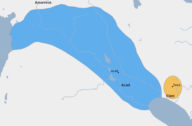 Mapa del imperio acadio y de Elam en el final del reinado de Naram Sin