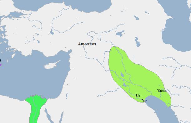 Mapa del Imperio de Ur a finales del III milenio a.C.