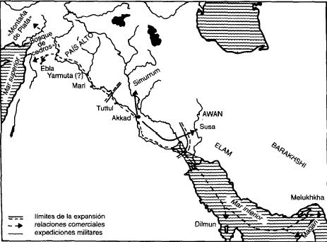 Mapa que muestra la extensión del Imperio acadio durante el reinado de Sargón de Akkad