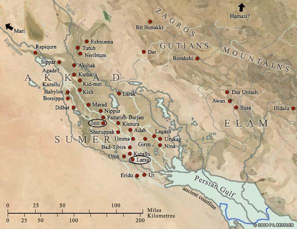 Mapa de Mesopotamia en el que se distingue la ciudad de Larsa e Isin