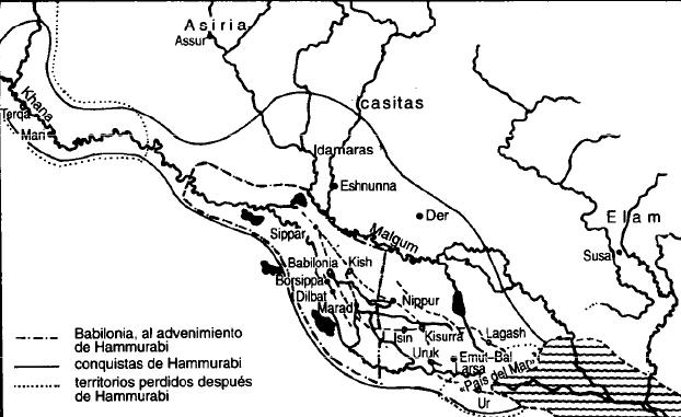 Mapa de la extensión del Imperio Babilónico antes, durante y después de Hammurabi