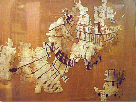 Fragmento del tejido de Gebelein donde se observa la pintura de un barco