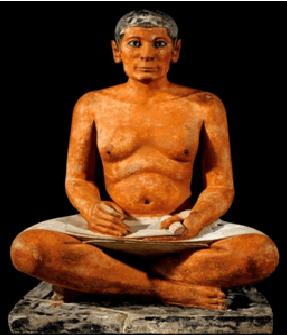 Escultura que representa a uno de los escribas en el antiguo Egipto