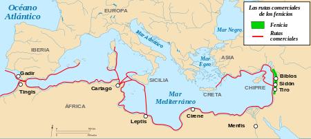 Rutas comerciales de Fenicia