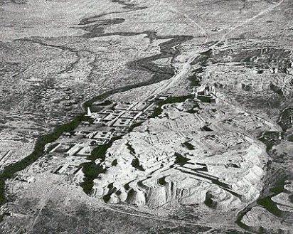 Vista desde el aire del yacimiento arqueológico de la acrópolis de Susa