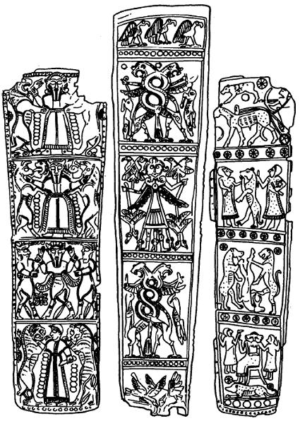Dibujos basados en aljabas de bronce decoradas, de Luristán (s VIII-VII aC)