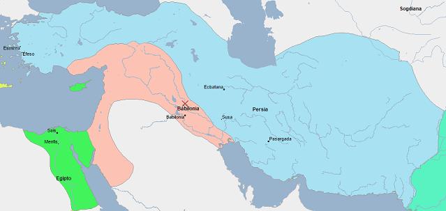 Mapa de los imperios persa y babilónico en vísperas del fin de Babilonia (vía Geacron)