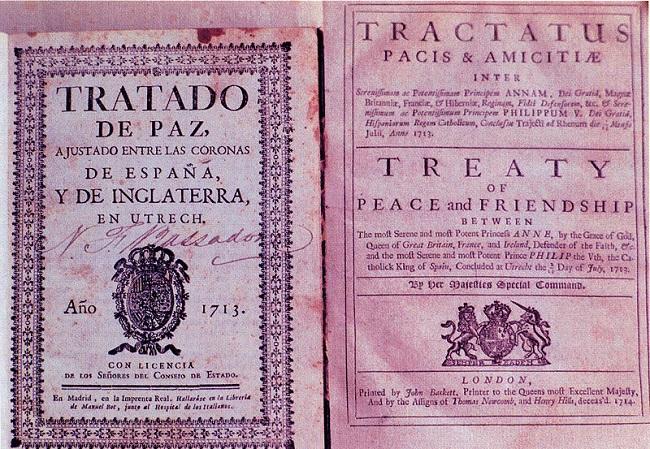 Portadas bilingües de las dos versiones del Tratado de Utrecht
