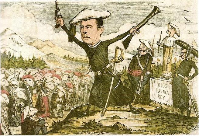 Caricatura del carlismo aparecida en una revista de 1870