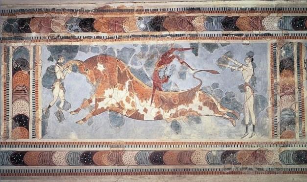 El salto del toro, pintura del palacio minoico de Cnosos