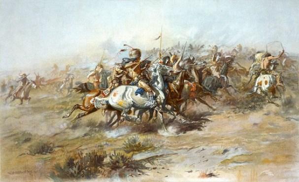 Cuadro de principios del siglo XX representando la batalla de Little Bighorn