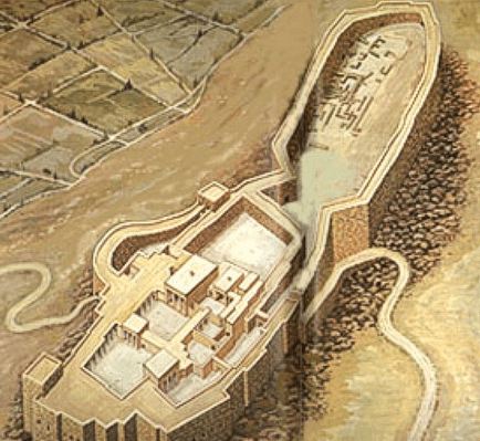 Reconstrucción de cómo habría sido la acrópolis de Tirinto