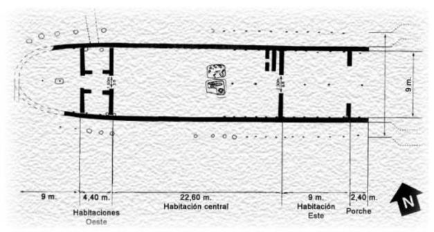 Planta y esquema de la tumba de Lefkandi