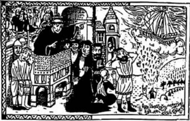Ilustración que representaba a San Agobardo expulsando a los judíos de Lyon