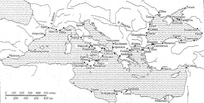 Mapa de las colonias griegas entre el 750 y el 500 a.C. (Sarah Pomeroy)