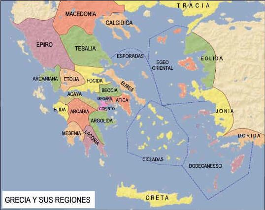 Mapa de las principales ciudades-Estado griegas atemporales