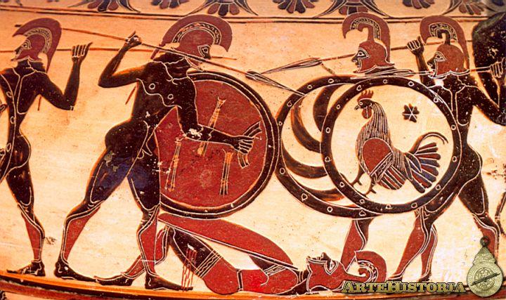 Escena de hoplitas en combate de una pieza cerámica de Corinto