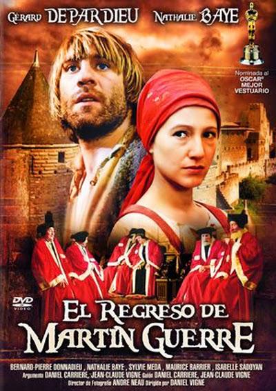 """Cartel de la película que se hizo del libro """"El regreso de Martin Guerre"""", con Gerard Depardieu"""