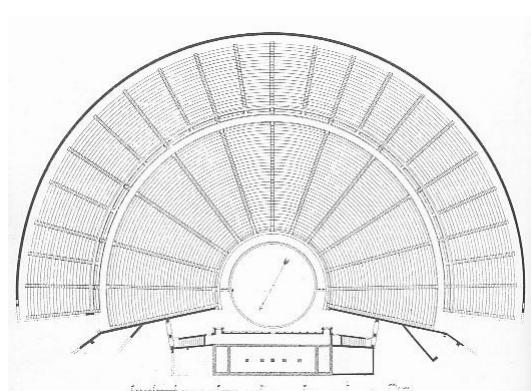 Plano de cómo debió ser el teatro de Epidauro, uno de los mejores ejemplos de teatro griego