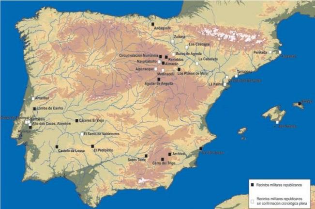 Mapa de los campamentos romanos republicanos ubicados en la Península Ibérica(Morillo & Adroher, 2014)