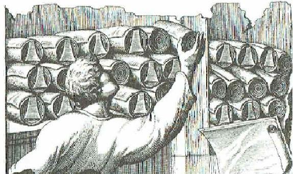Dibujo basado en un relieve romano de los rollos en las estanterías de la Gran Biblioteca de Alejandría