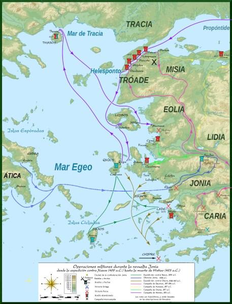 Operaciones militares de las revuelta jonia iniciada por Aristágoras, segun los textos de Herodoto
